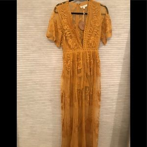 Honey Punch Lace Maxi Dress in Yellow